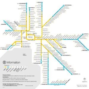 mapa do trem em melbourne